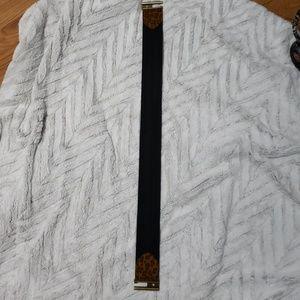 Chaps black & leopard cinch belt